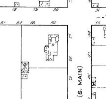 1915 Sanborn Map showing Thorne House with two stories